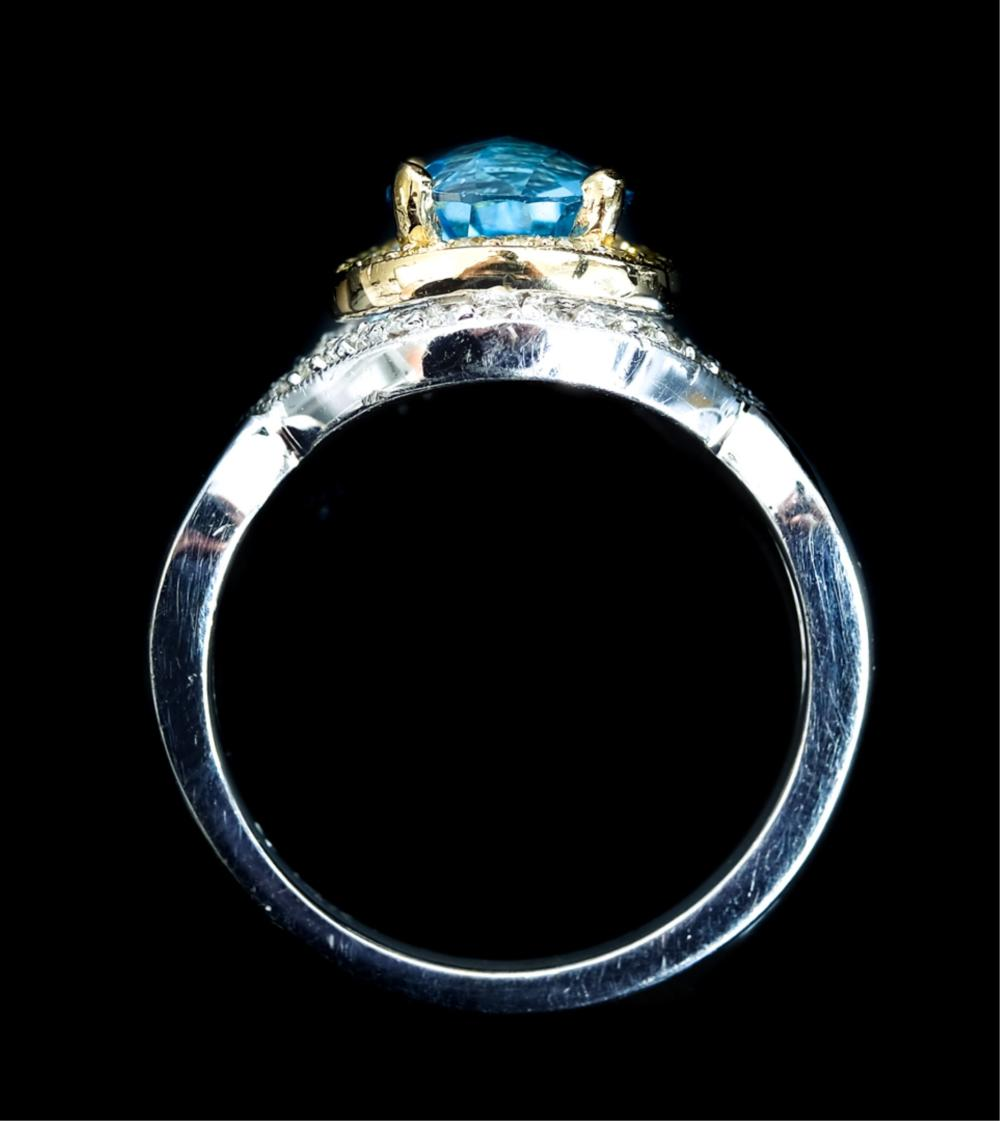 14k WG YG Blue Topaz & Diamond Ring