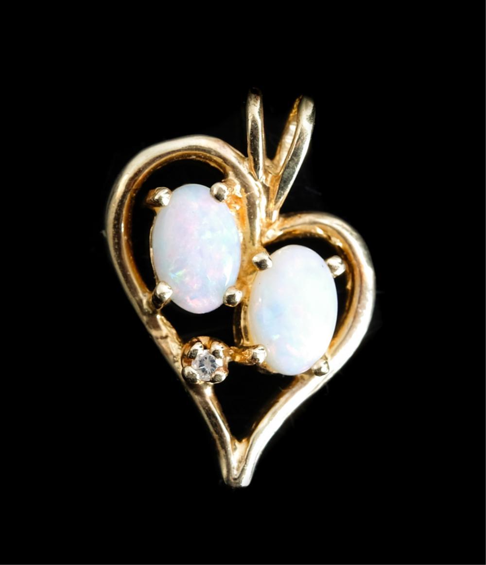 14k Yellow Gold Heart Shaped Pendant