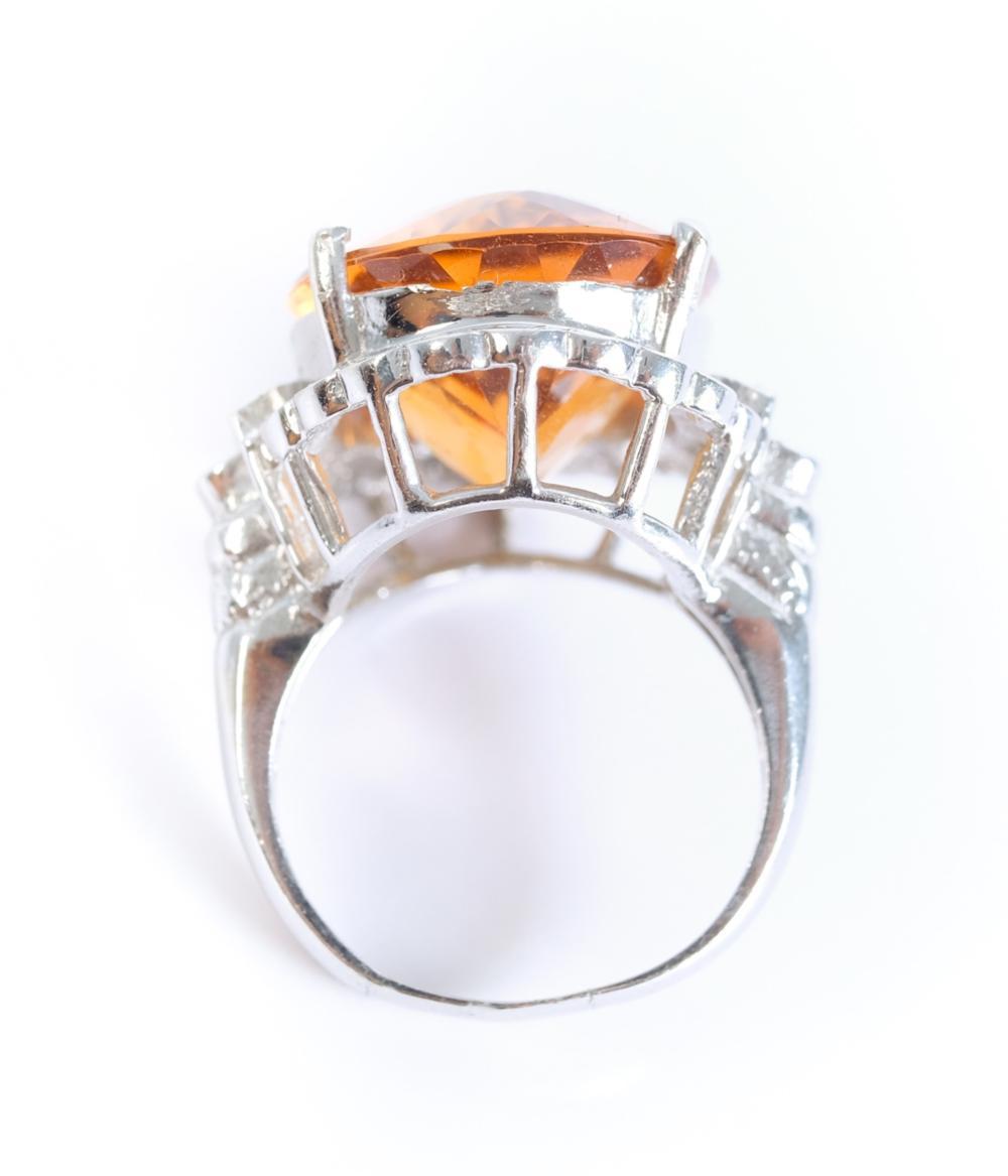 14K WG Diamond & Citrine Cocktail Ring