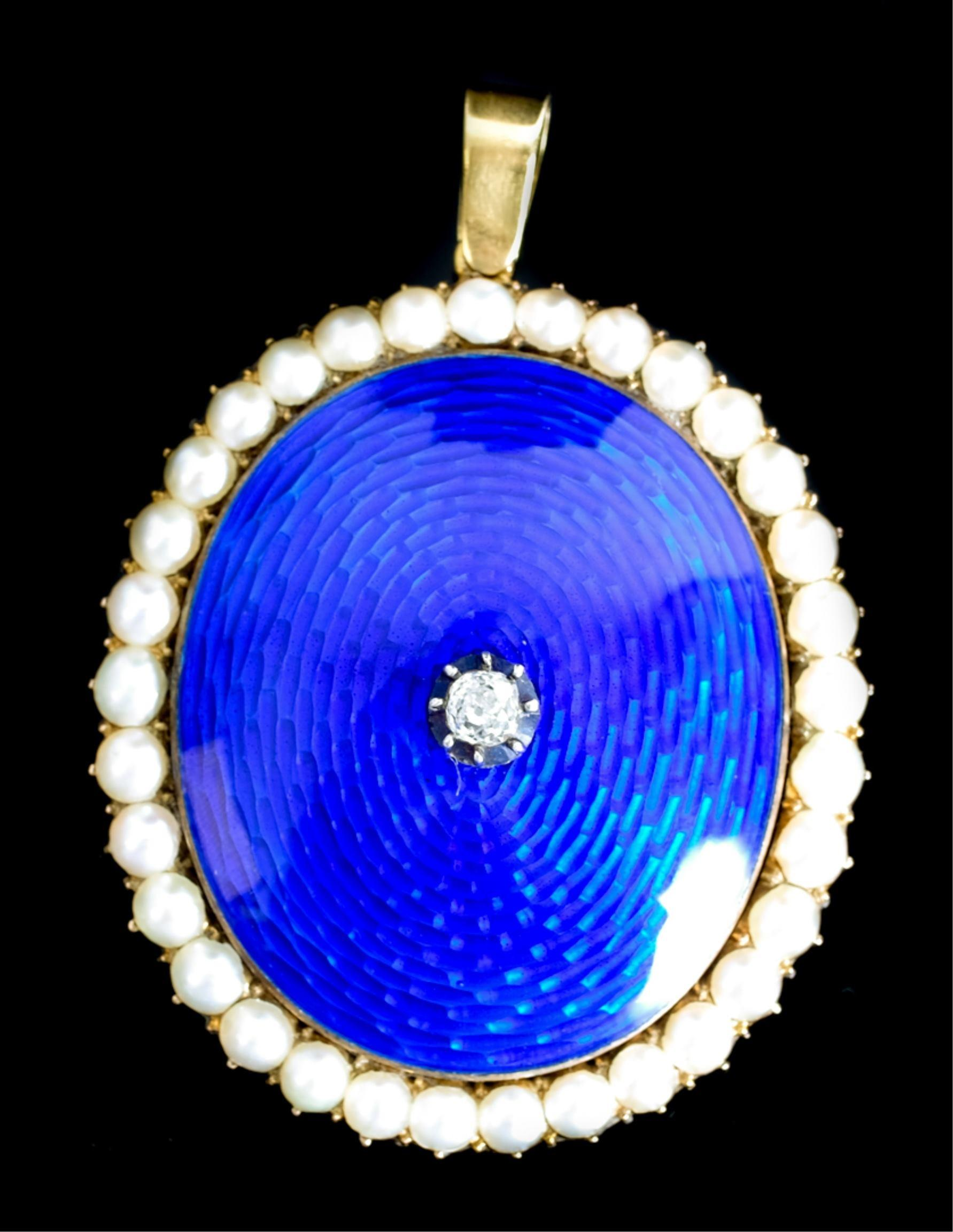 14k Pearl & Diamond Guilloche Enamel Pendant