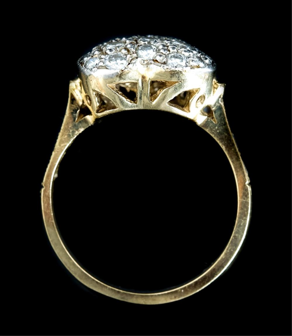 14k Yellow Gold Heart Ring w/Diamonds, Size 6 1/2