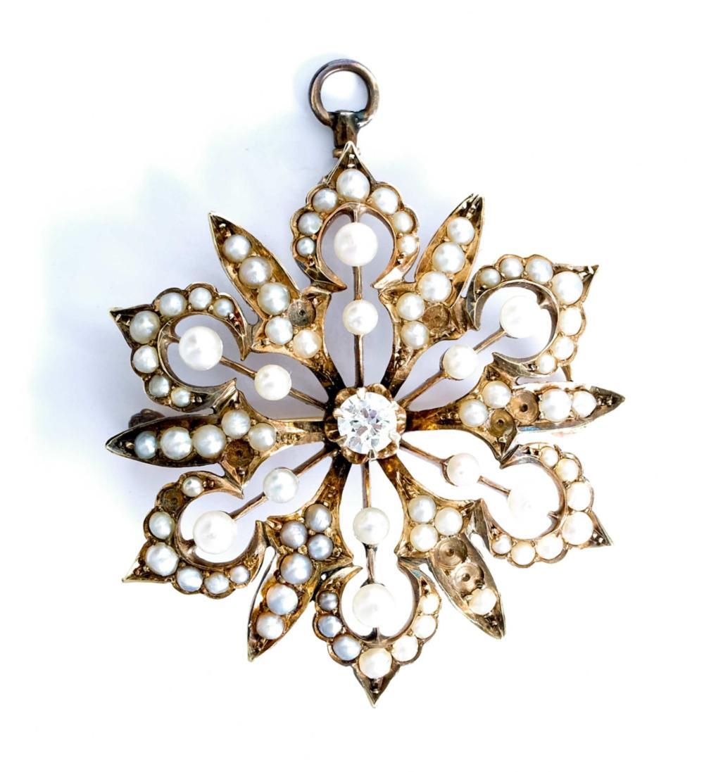 Vintage 14k YG Pearl & Diamond Brooch Pendant