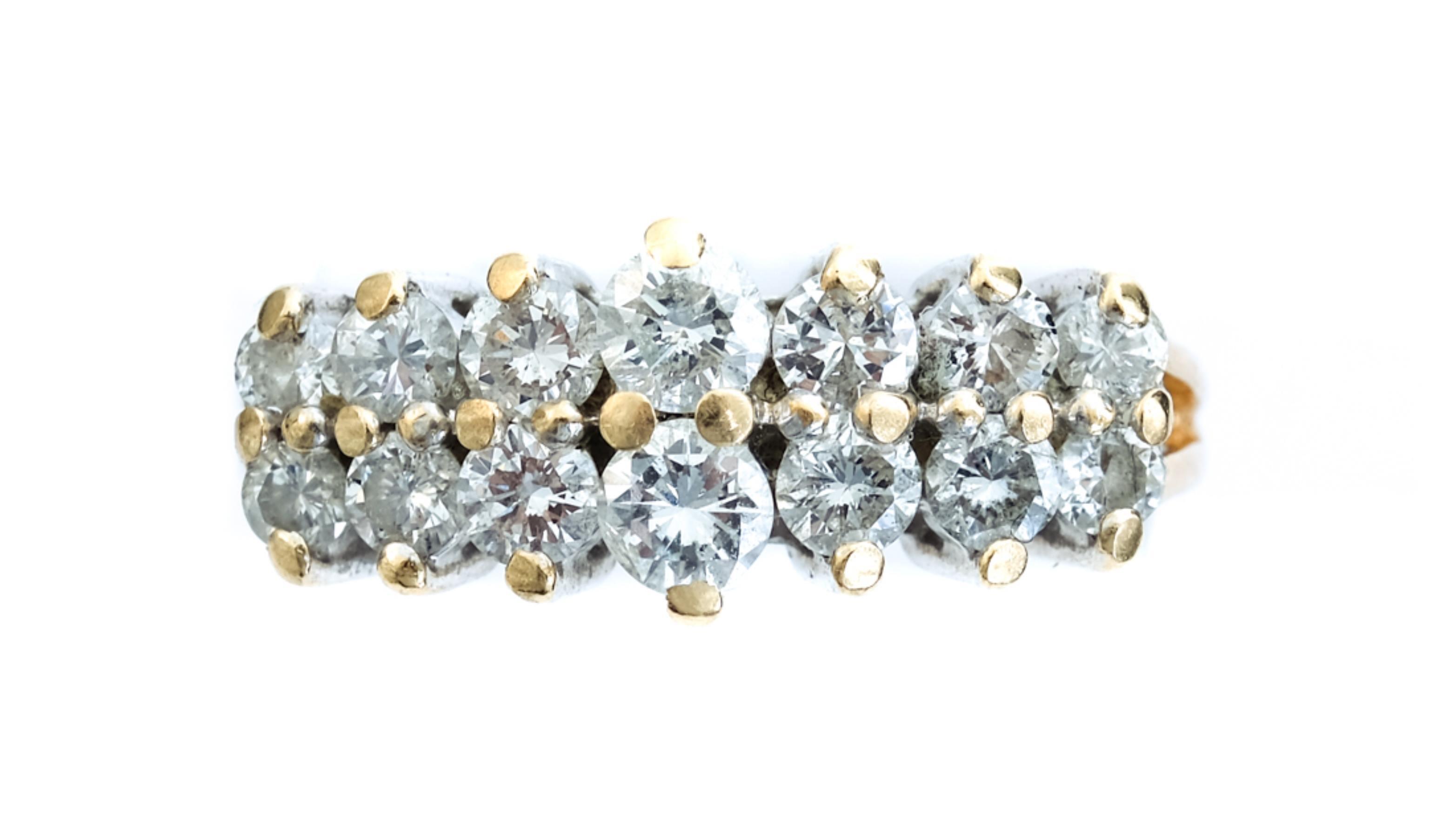 14k Yellow Gold Ring w/14 Diamonds, Size 6 1/2