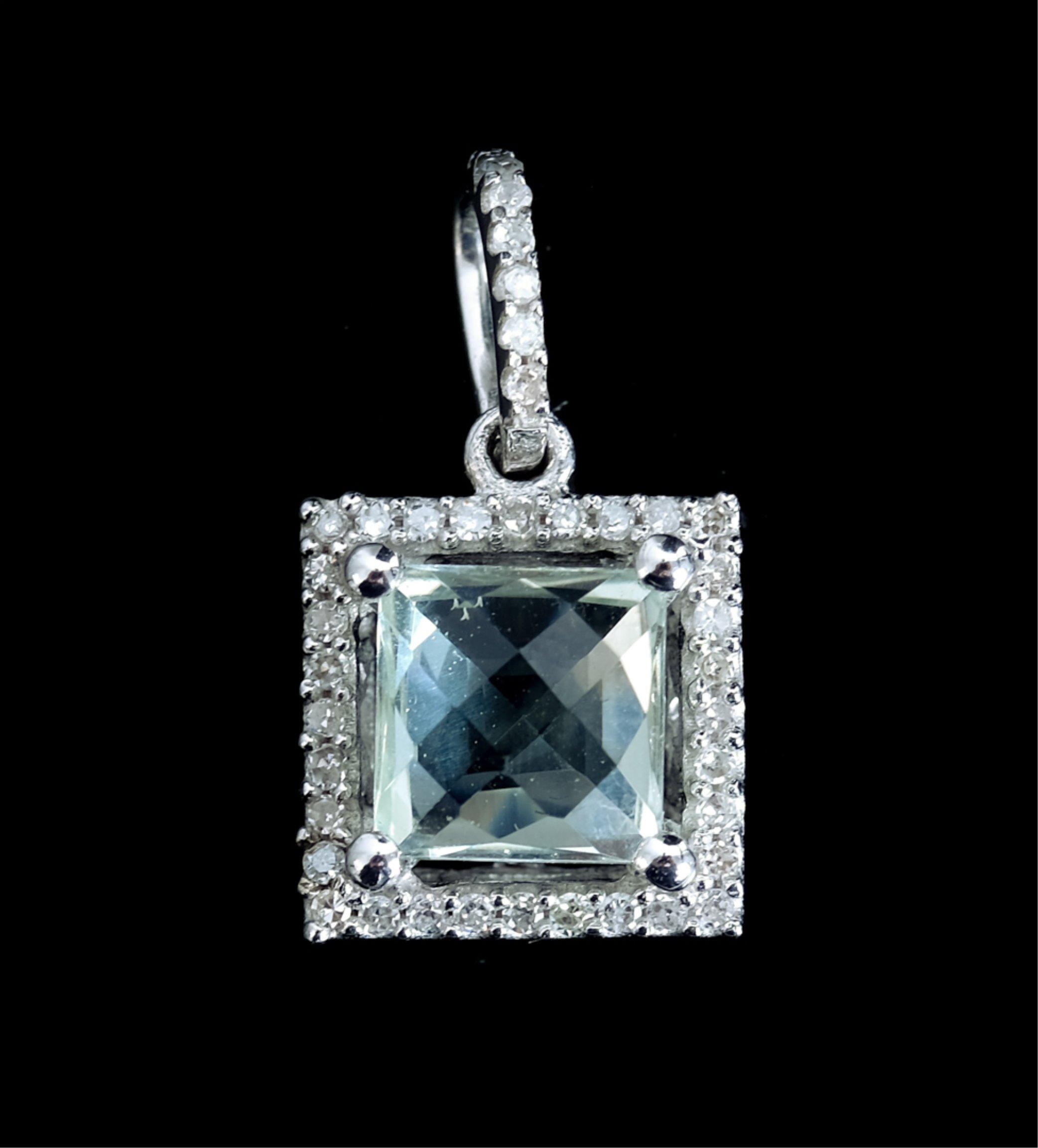 14k WG Diamond & Green Amethyst Pendant