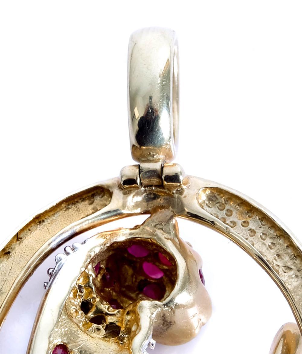 10k YG Diamond & Ruby Figural Feline pin