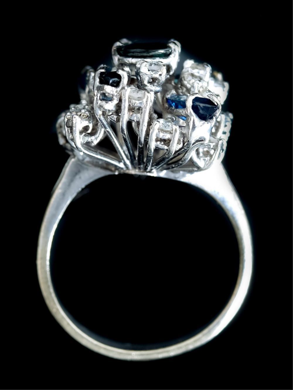 Sapphire & Diamond Cluster Ring, Size 7