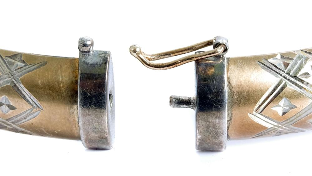 10K yellow Gold & Sterling Hinged Bracelet