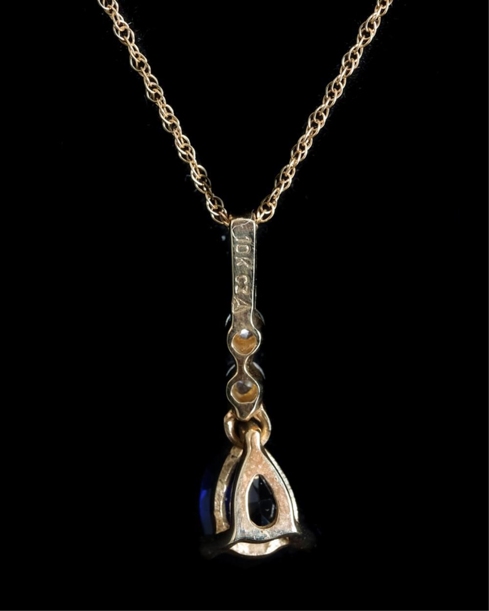 10k Yellow Gold & Sapphire Pendant Necklace