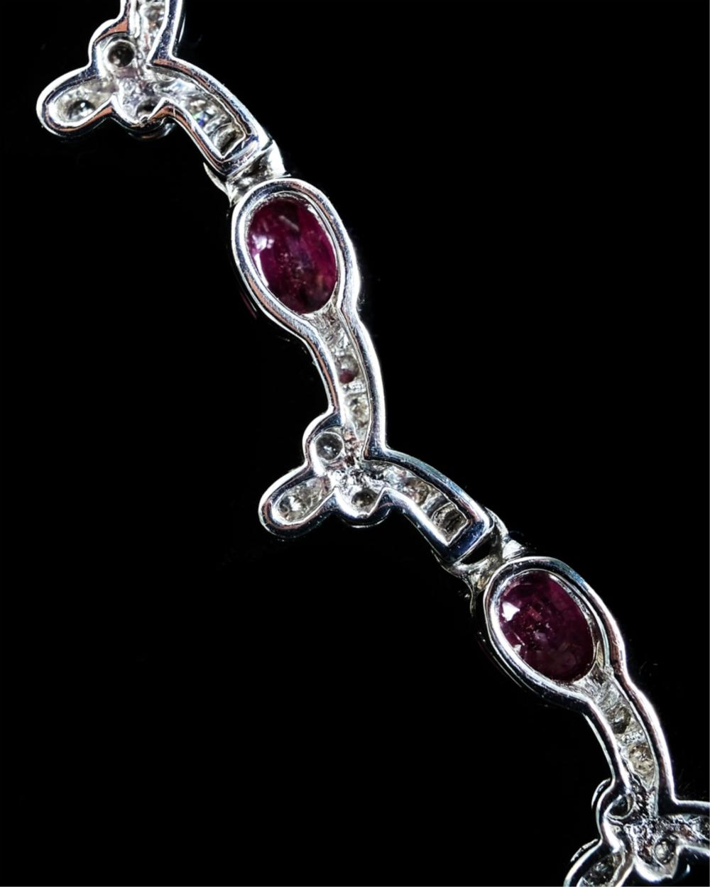 10k White Gold Ruby & Diamond Necklace