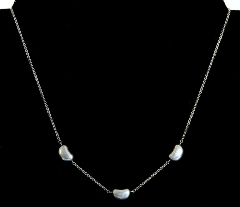 Elsa Peretti Tiffany & Co Sterling 3 Bean Necklace