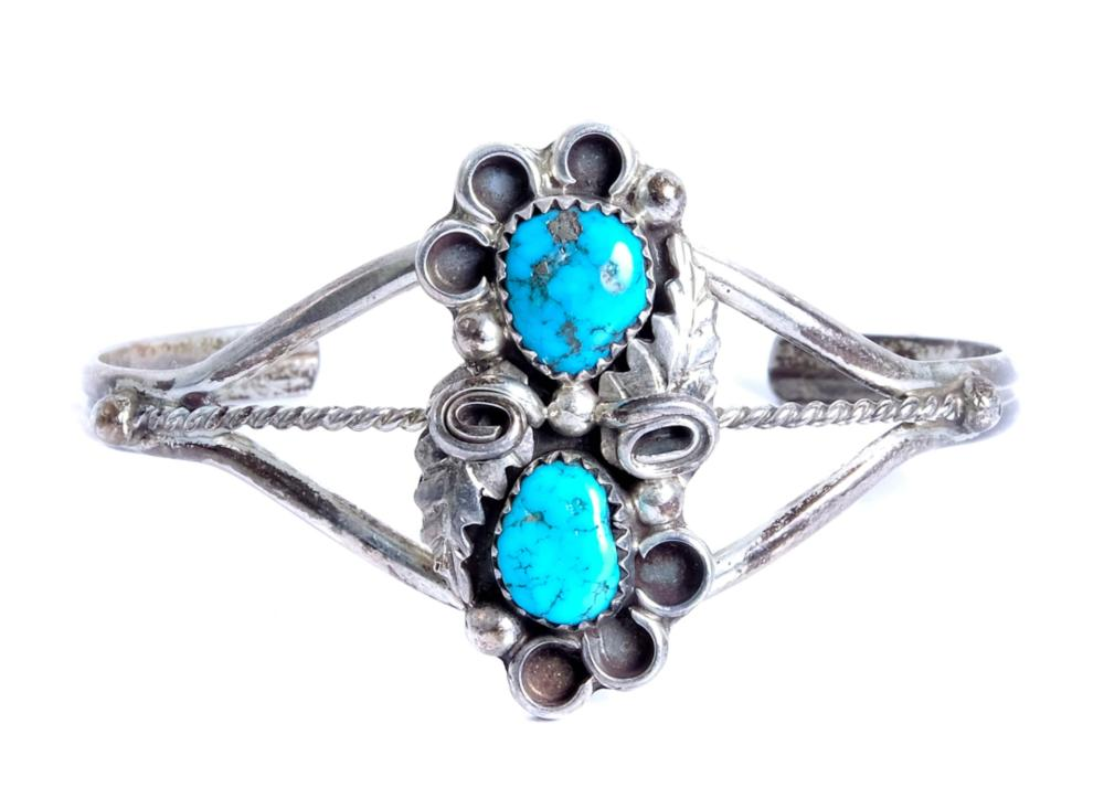 Two Vintage Sterling Silver & Turquoise Bracelets