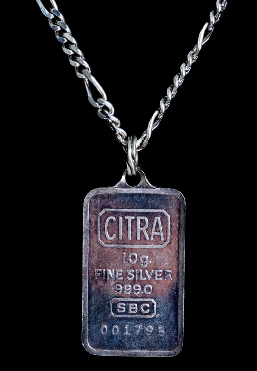 CITRA 10G Fine Silver 999.0 Ingot on Necklace