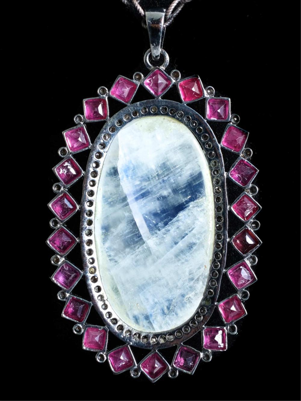 925 Pink Sapphire, Moonstone & Diamond Necklace