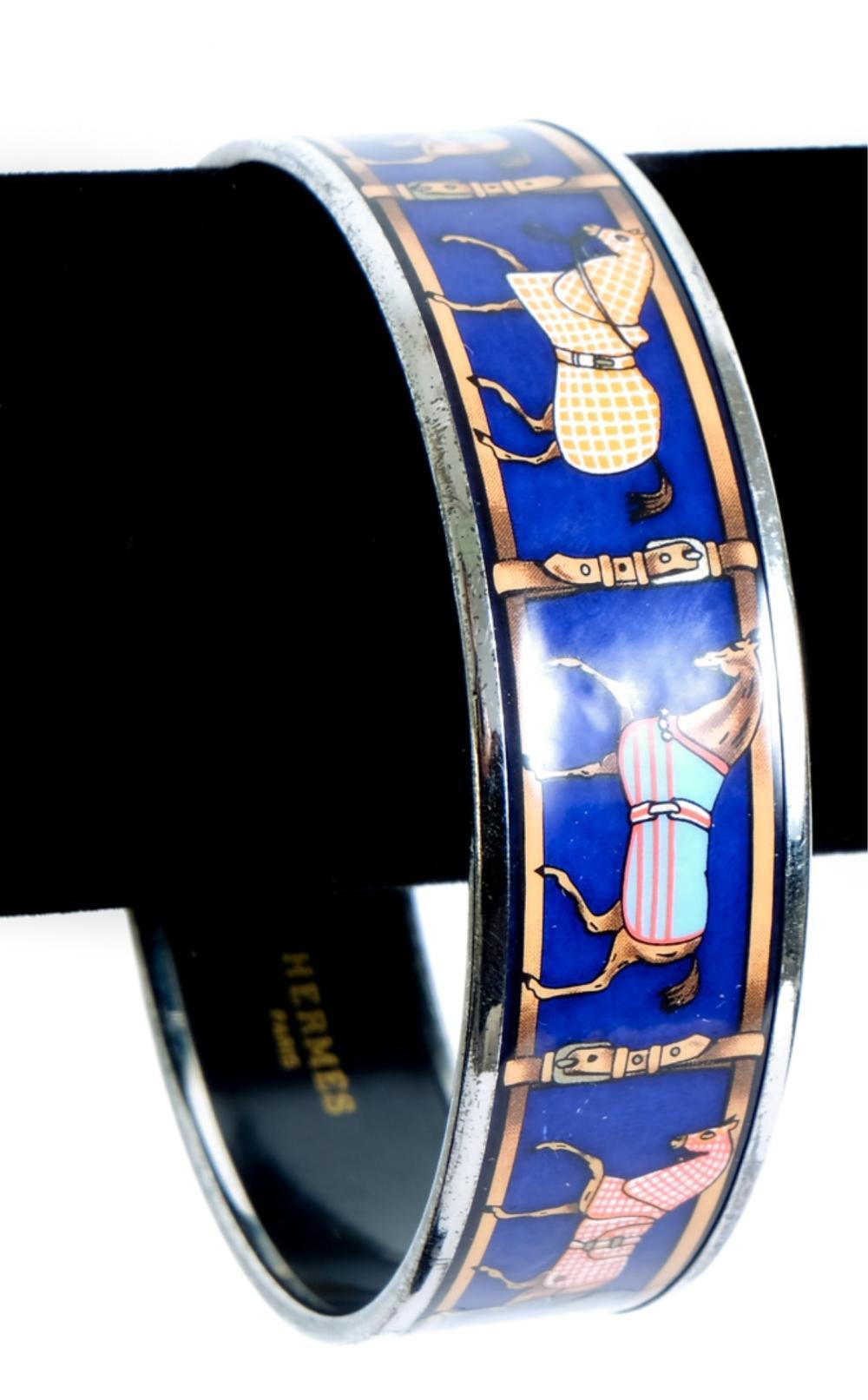 Hermes Enamel Equestrian Bangle Bracelet