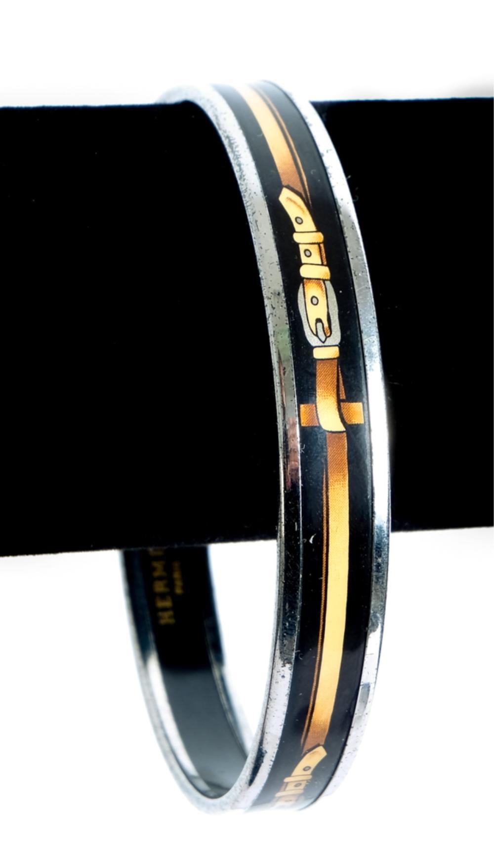Hermes Narrow Black Enamel Belt Bangle