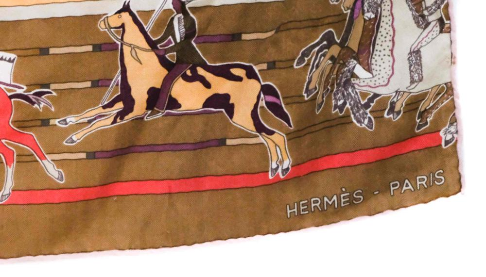 Hermes Carre en Carres Orange Cashmere Silk Scarf
