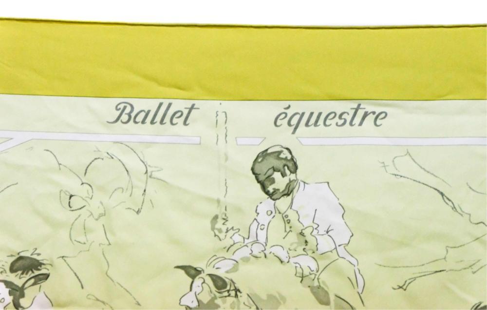 Hermes Chartreuse Silk Ballet Equestre Scarf Wrap