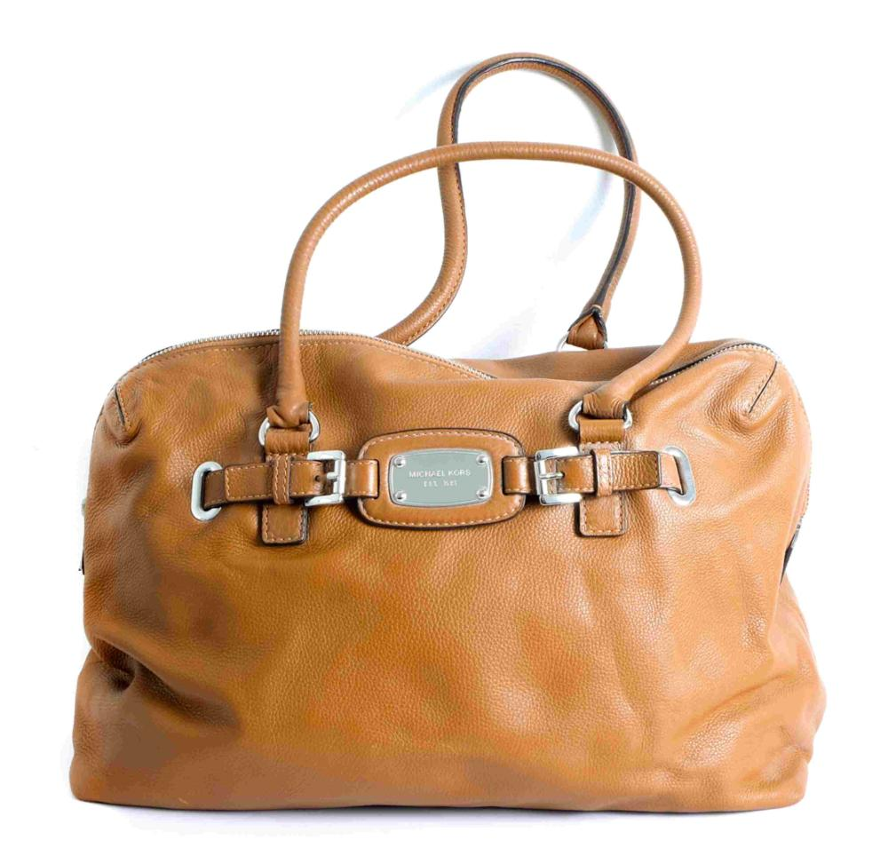 Michael Kors Cognac Leather Weekender Bag