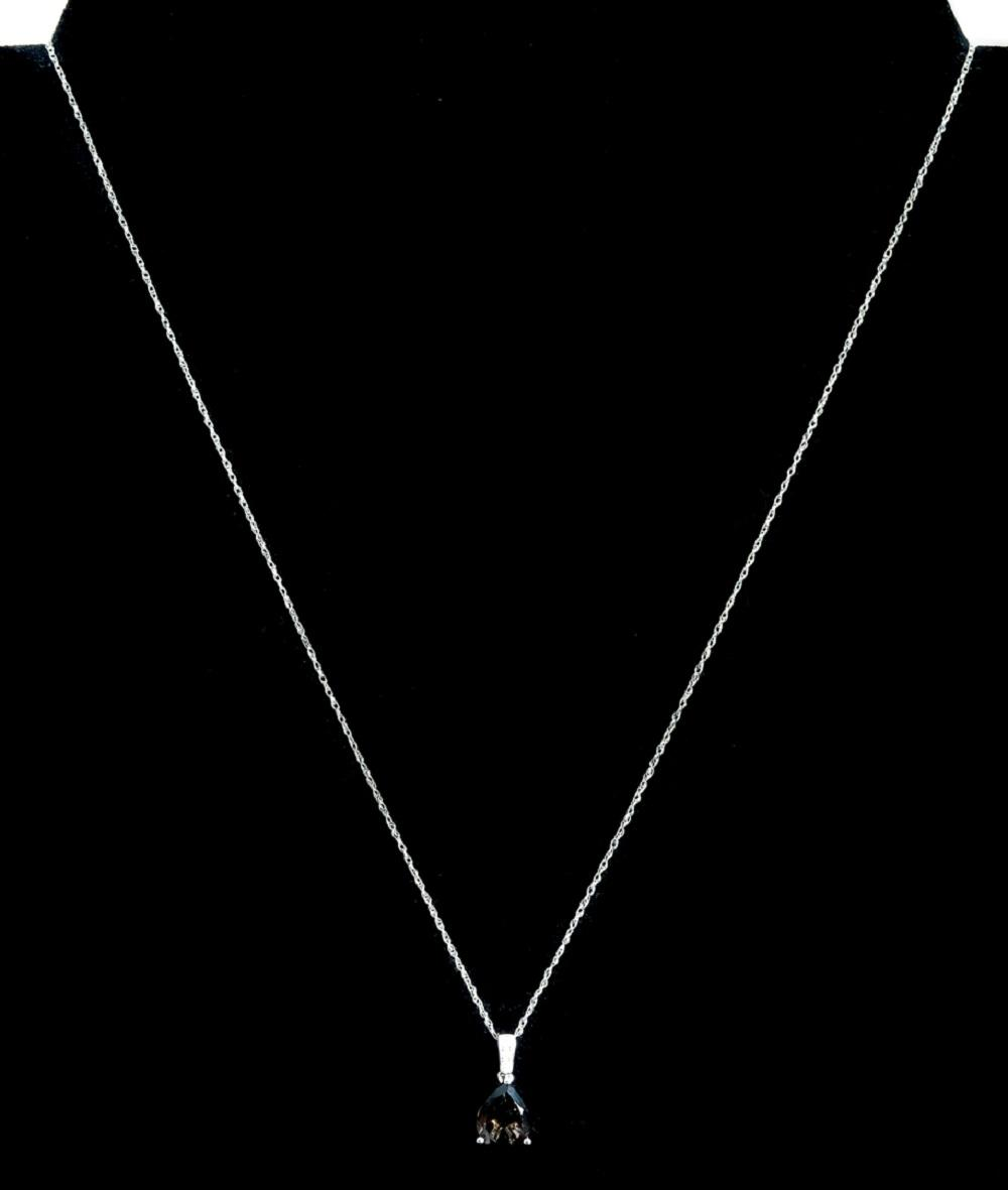 14k WG Smokey Topaz & Diamond Pendant Necklace