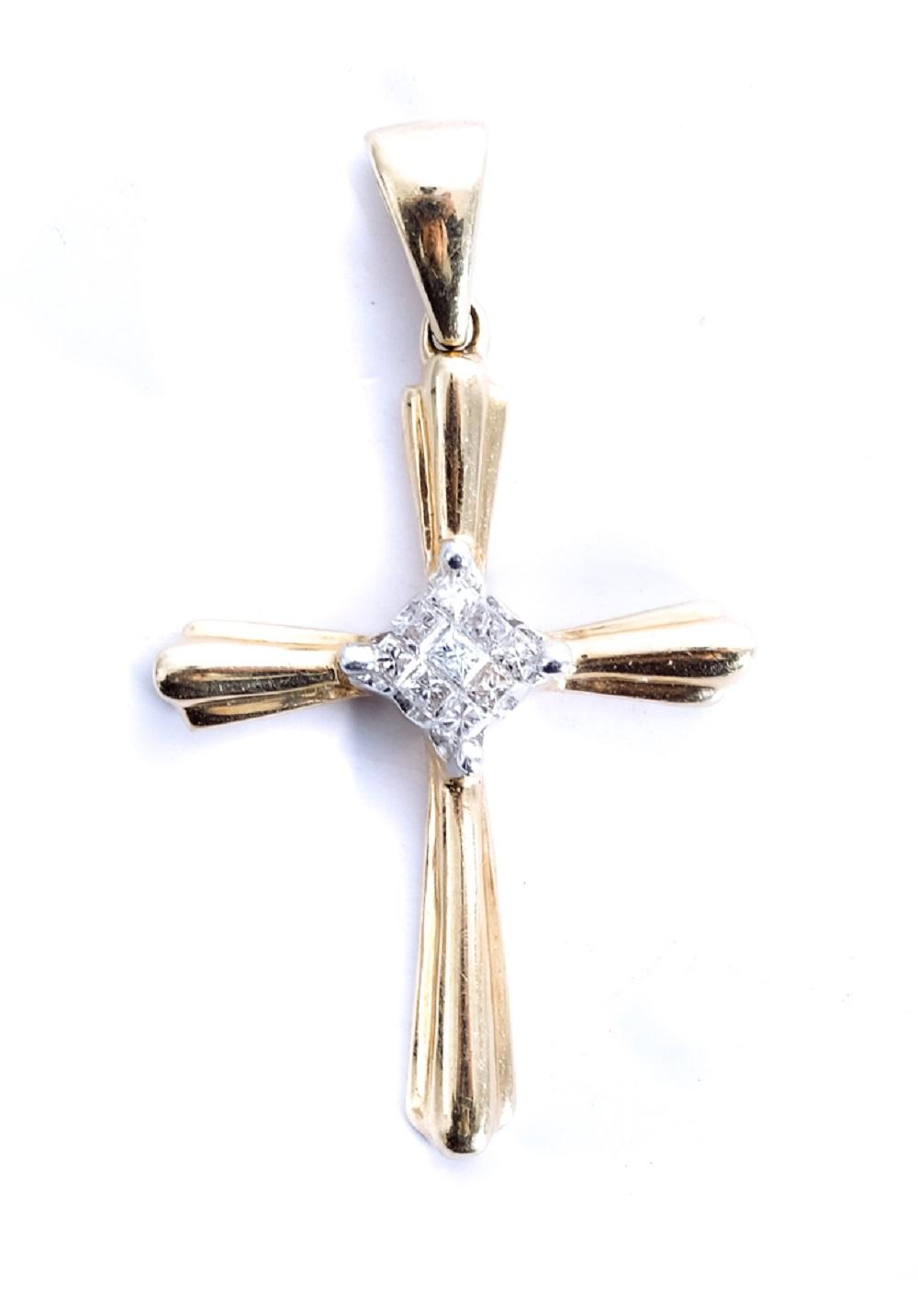 14k Yellow Gold & Diamond Cross Pendant