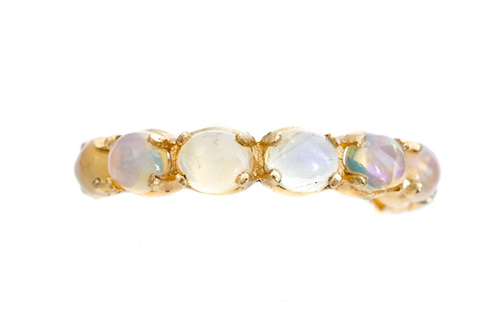 18k Yellow Gold & Opal Ring Band, Size 7