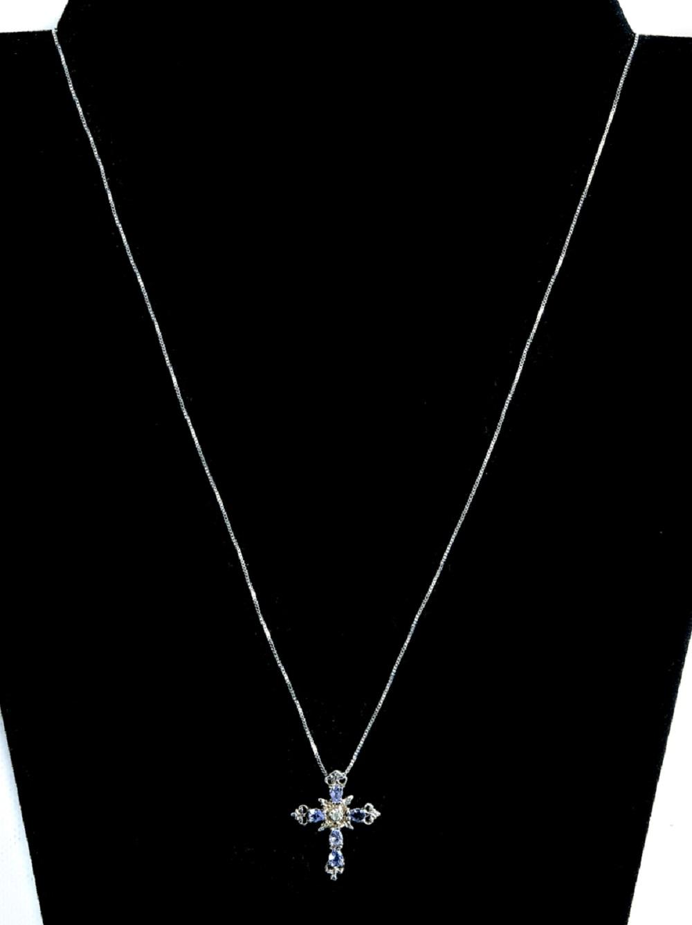 10k WG Diamond & Tanzanite Cross Necklace