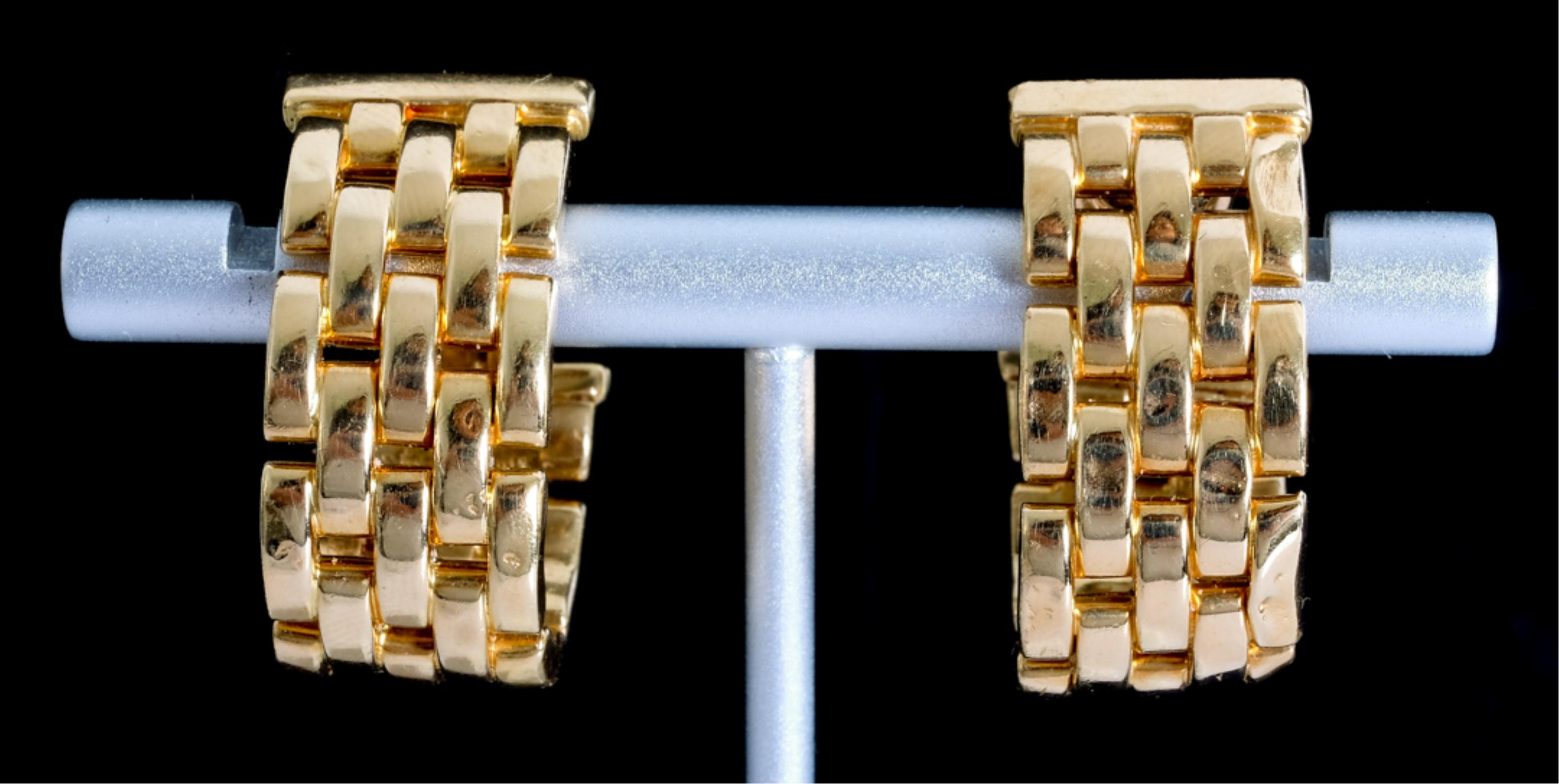 Cartier 18k YG Maillon Panthere Hoop Earrings