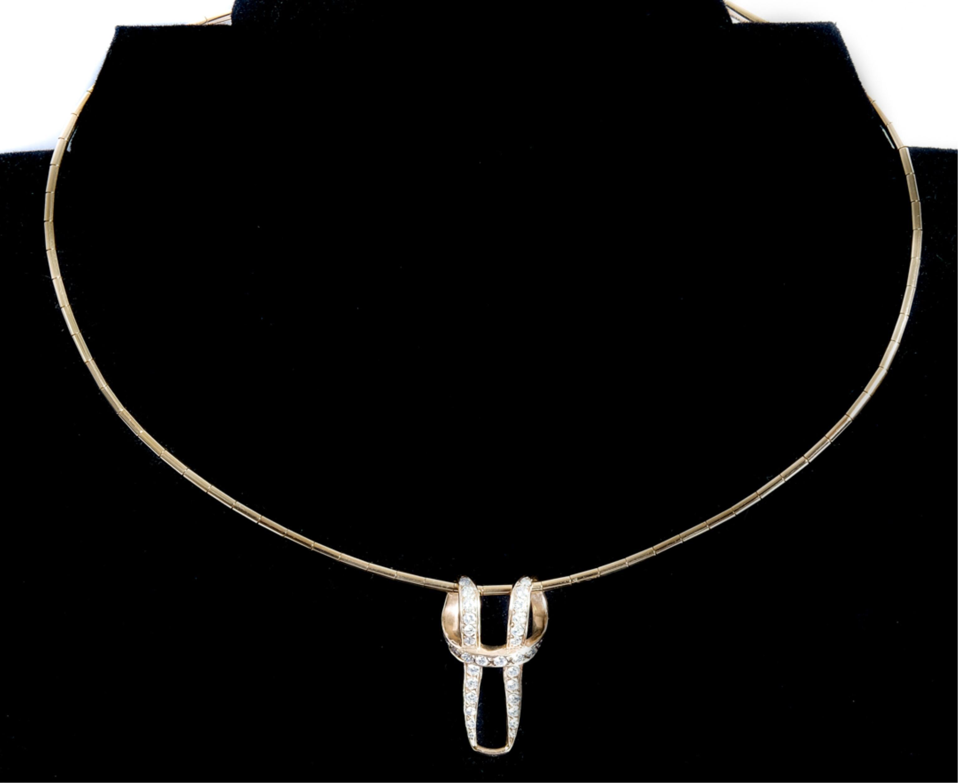 Cartier 18k Omega Necklace w/Diamond Pendant