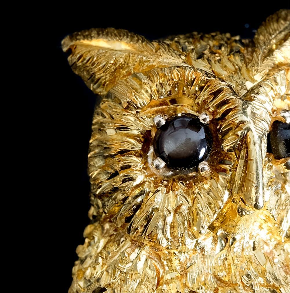 Cellino 18k Yellow Gold Owl Pin Brooch
