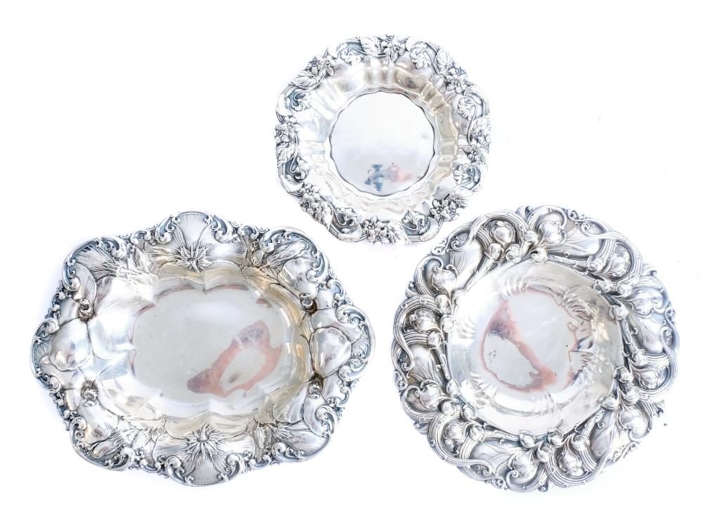 Three Whiting Sterling Silver Bowls