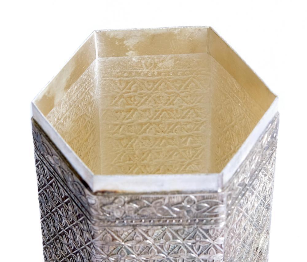 Mughal Style Silver Pandan / Betel Hexagonal Box