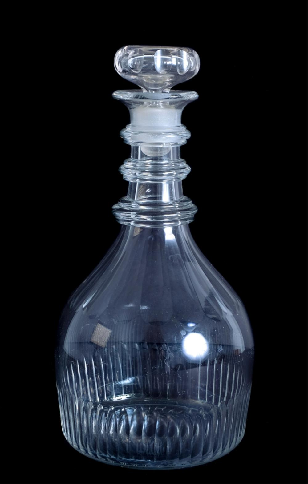 Early 20th C Cut Glass 3 Ring Neck Decanter