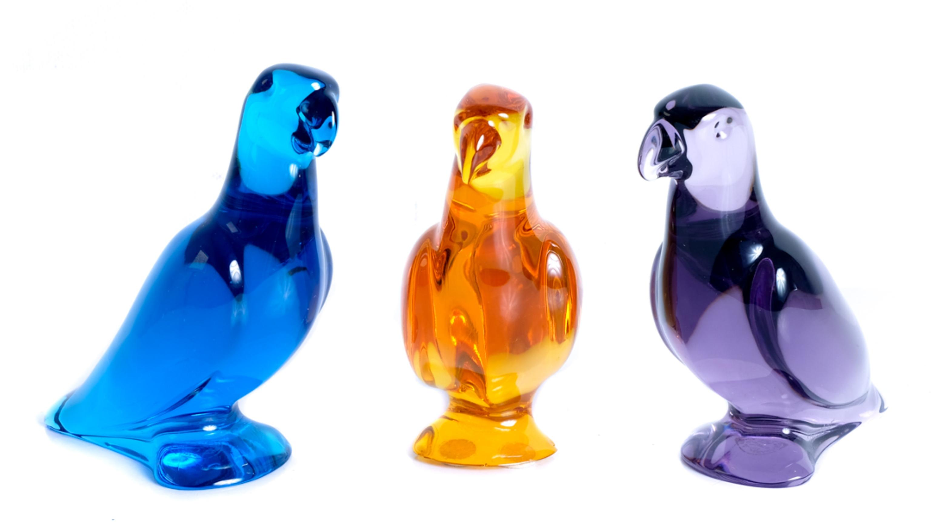 Group, 3 Baccarat Crystal Parrot Figurines