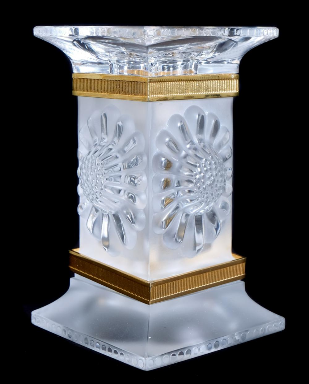 Pair Lalique Crystal Paquerettes Candle Holders