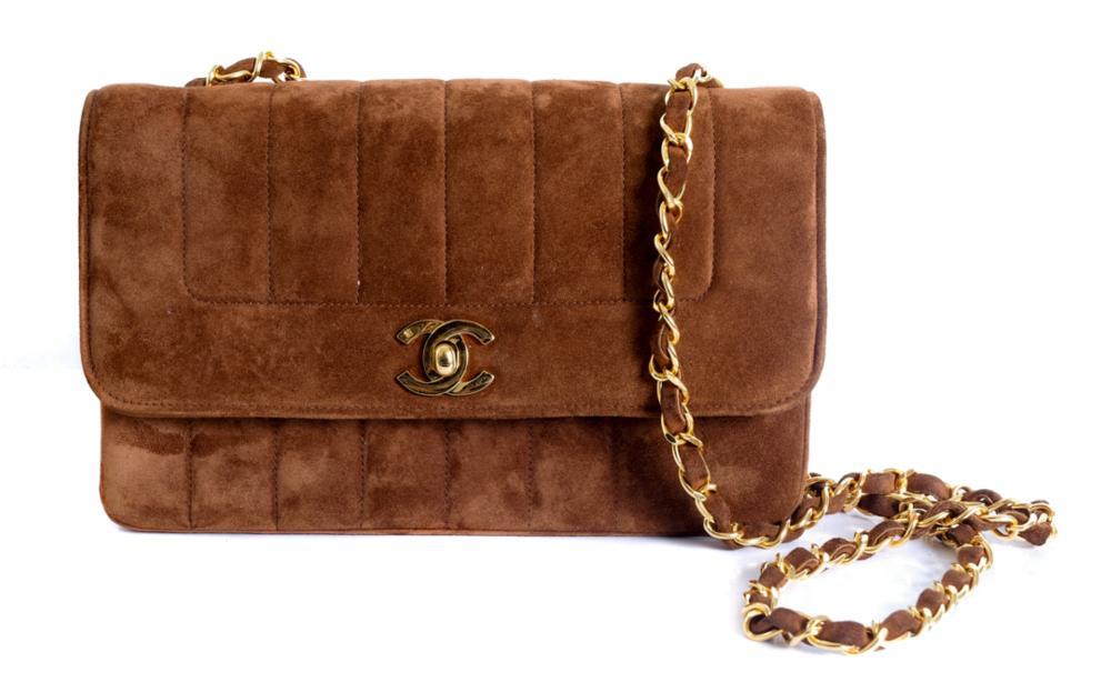 Vintage Goat Velvet Chanel Flap Bag with Gold Hard