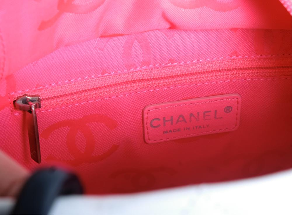 Chanel Petite Shopping Tote in White and Black