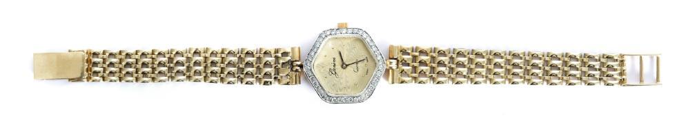Vintage 14k Yellow Gold & Diamond Geneve Watch