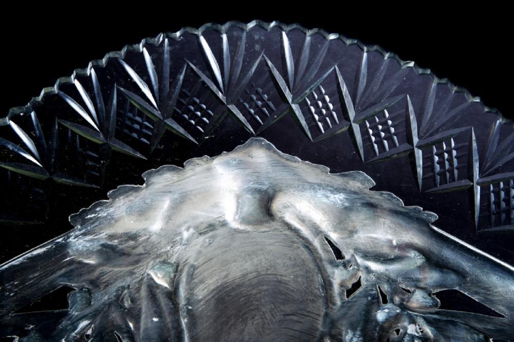 Impressive Silver & Cut Glass Handled Centerpiece 19th