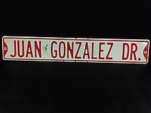 Juan Gonzales Autographed Metal Sign