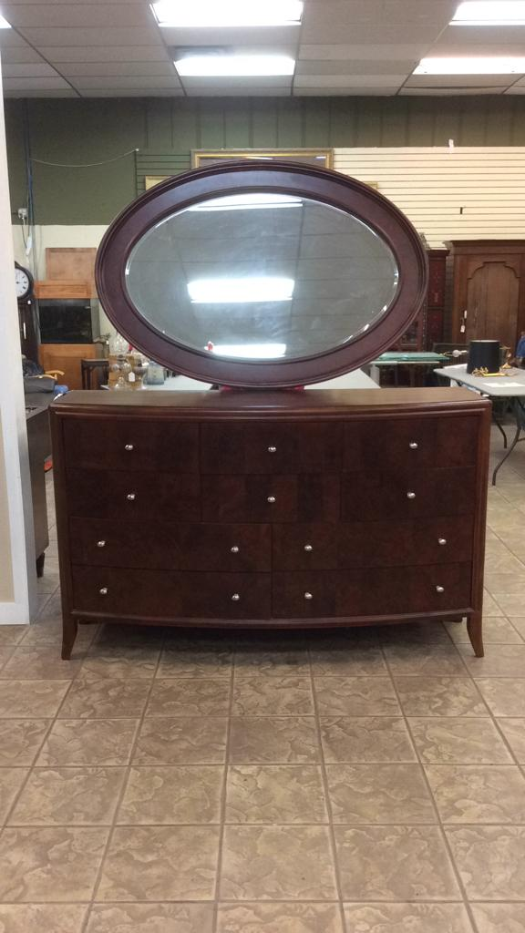 Wood Mirrored Dresser with Burlwood veneer