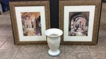 Pair Of Framed and matted Art Approximately 25