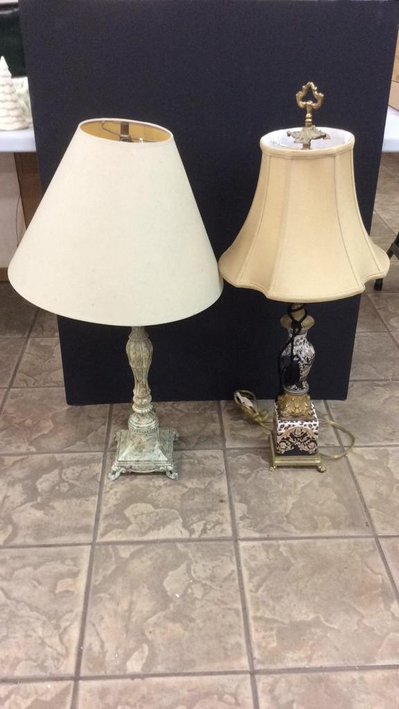 Pair Of Table Lamps-One has a hand painted