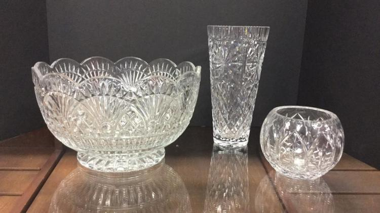 Large Crystal punch bowl with a pair of