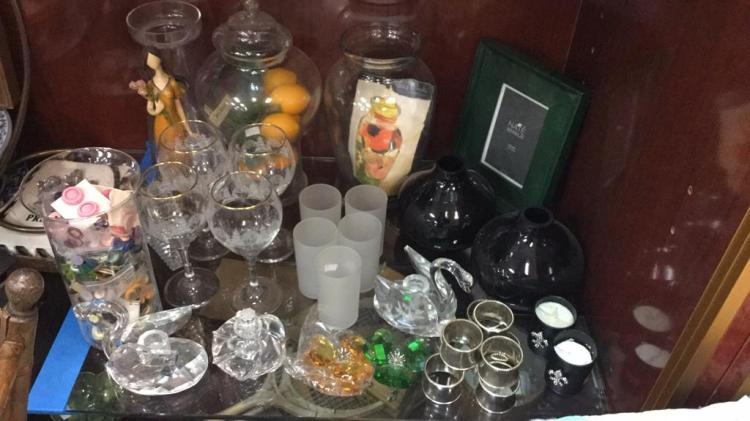 Selection of glass vases, Christmas stemware,