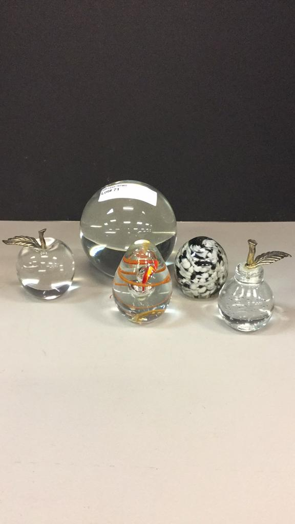 Selection of glass paperweights-tallest is