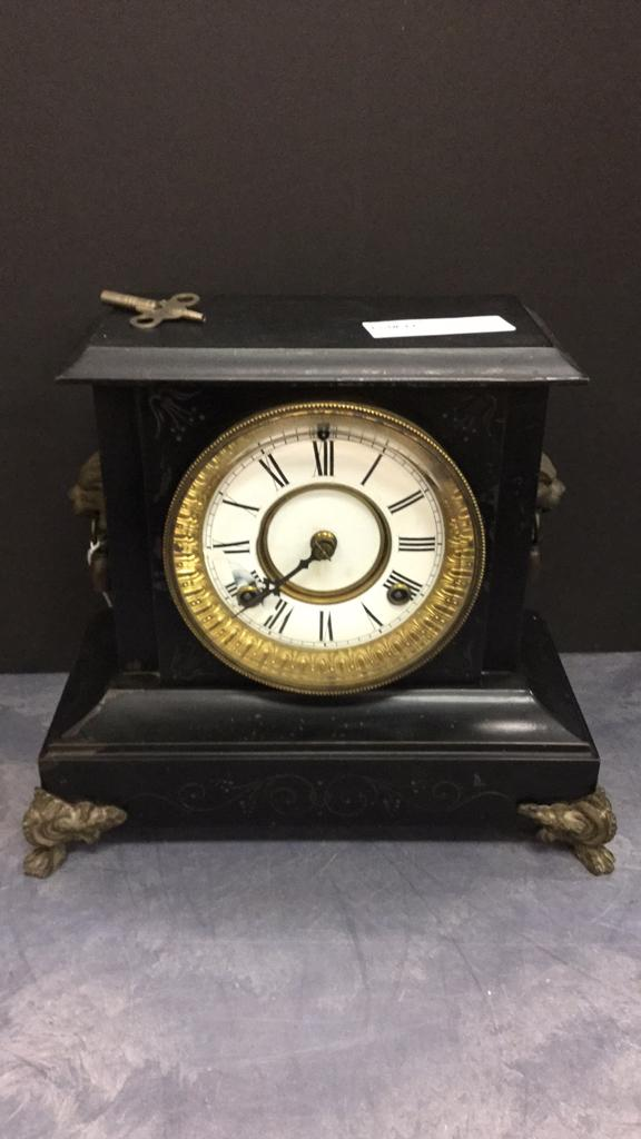 Waterbury Co. Mantle clock with gold ormolu