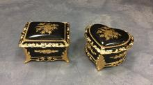 Pair of small gilded Splendid music boxes