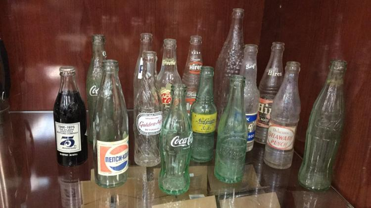 Selection of vintage and Antique soda bottles