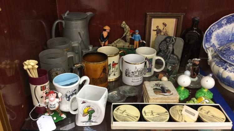 Selection of Golf Items including old bank, mugs,