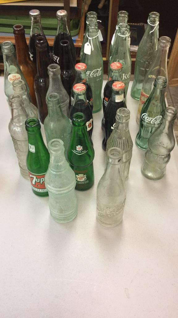 Selection of old antique soda bottles